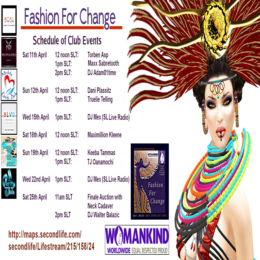 Fashion For Change Club Events Schedule