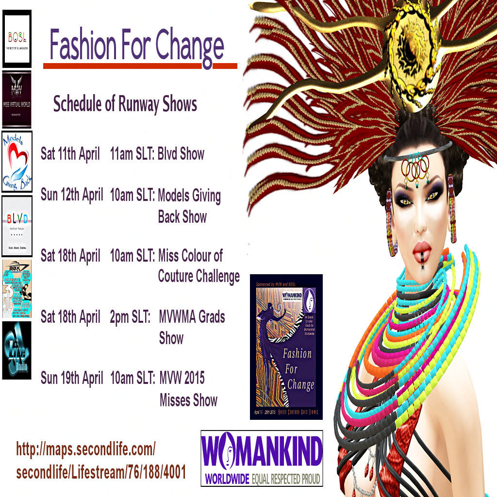 Fashion for Change Runway Fashion Show Events Schedule